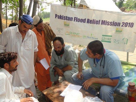 Dr Babar runs a medical relief camp