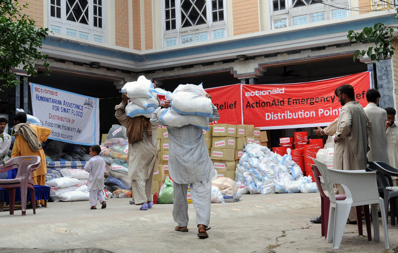 Photo: ActionAid. Relief distribution point.