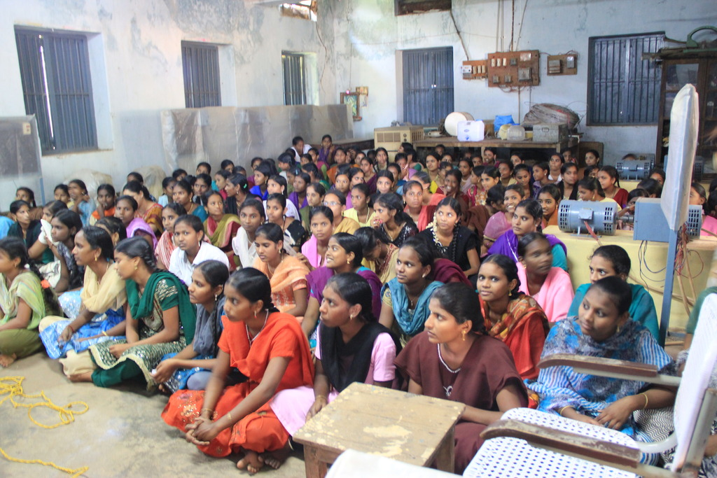 Students listening closely to a Prajwala Talk
