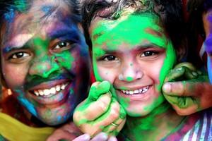 Children Celebrating Holi Festival of Colors 2014!