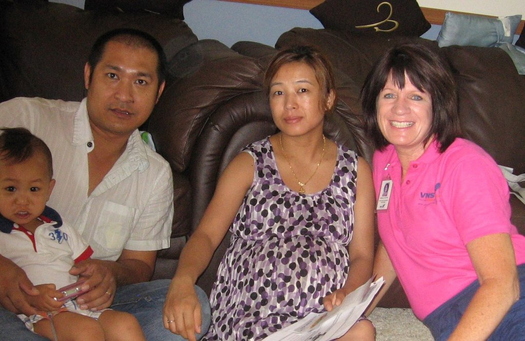 Bless, Min and Lum with their nurse Marcia