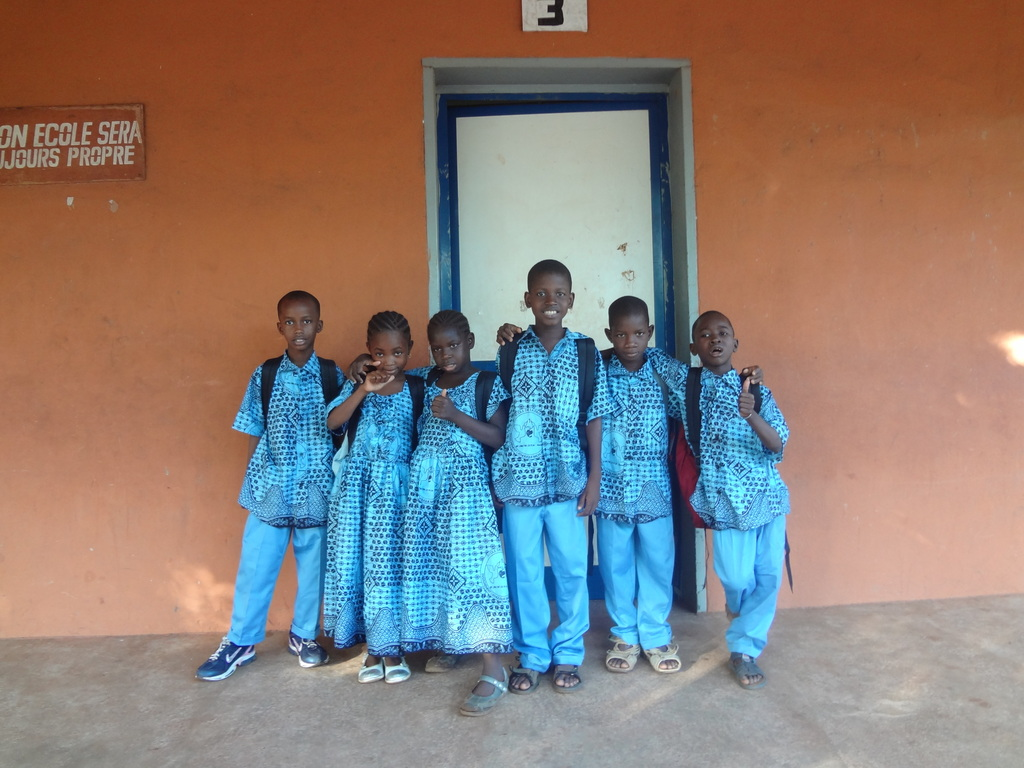 Children in front of their new class