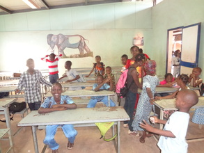 Children in their new classroom