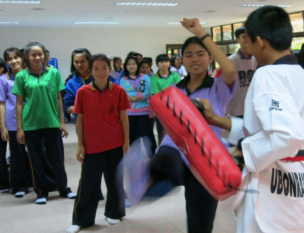 The girls enjoyed basic self-defense training
