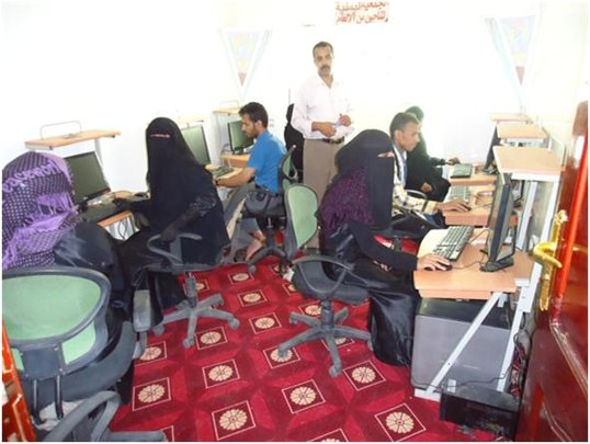 Landmine survivors in a computer training course
