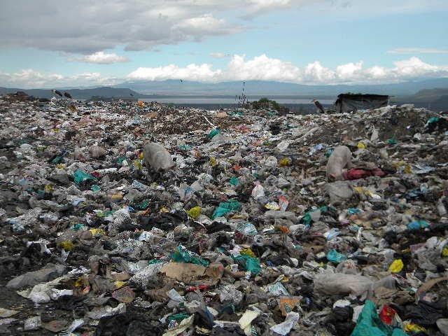 View of Lake Nakuru from the city dump
