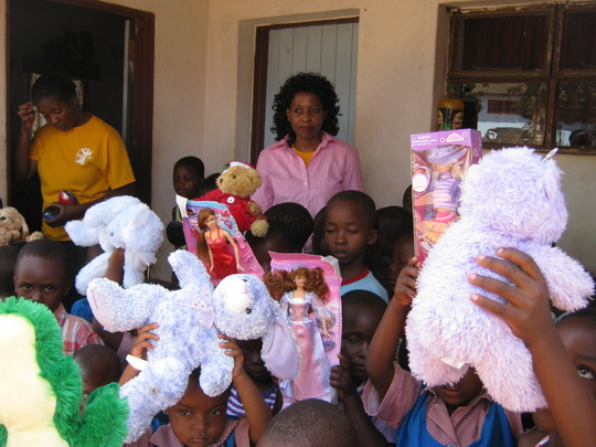 Our Pre-school kids receiving toys for Christmas