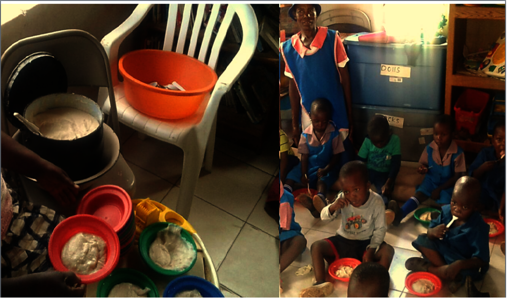 Serving Porridge To The Pre-school Kids