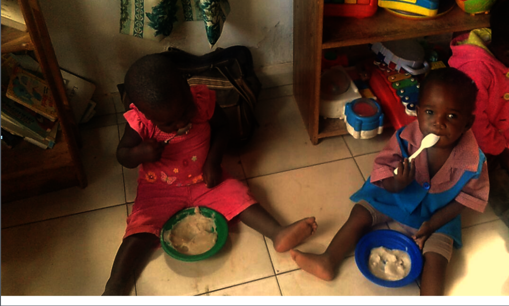 Pre-school Kids Eating Porridge
