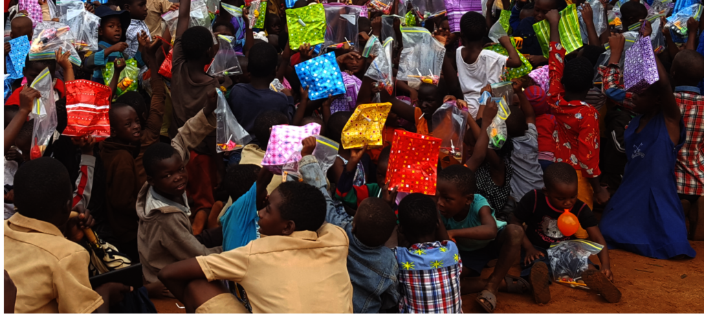 Kids Receiving Toys For Christmas