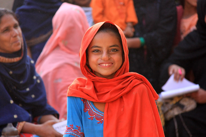 Young girl at a mobile health clinic