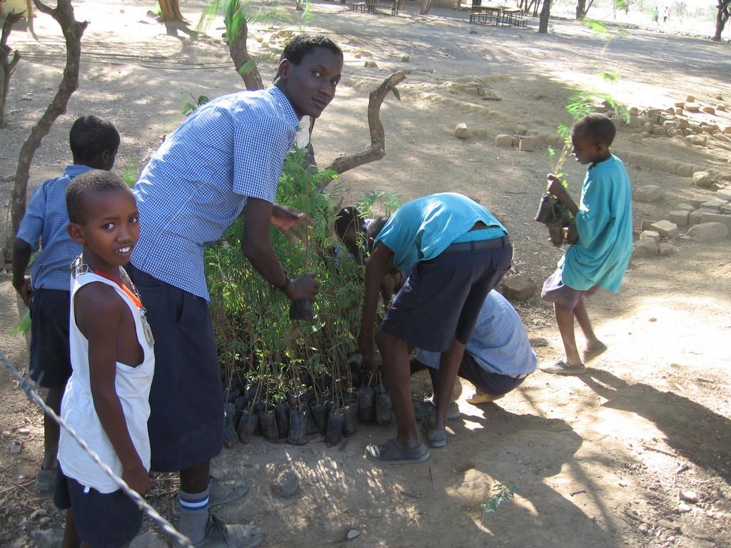 Students planting trees in Magadi, Kenya