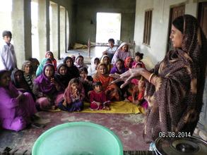 AHD women staff giving health hygine session