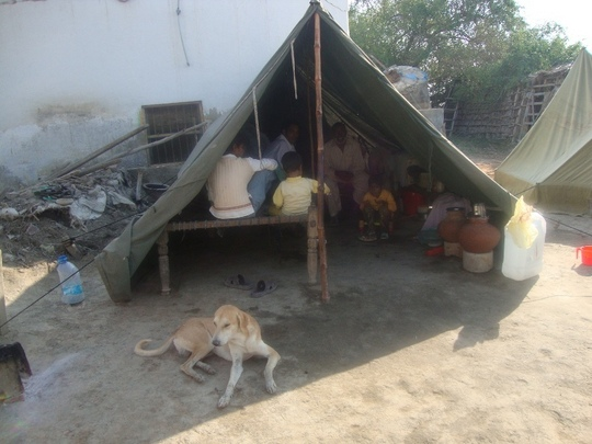 A familiy provided with tent