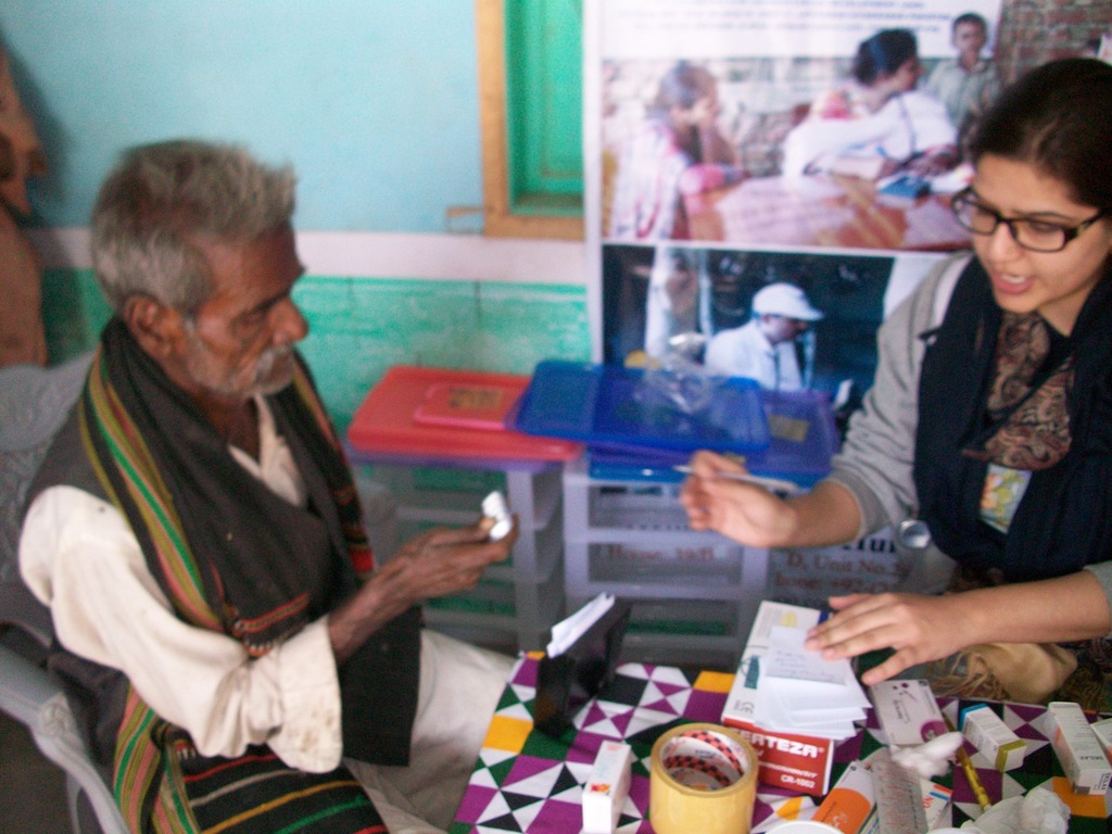Old persons checked and provided with medicine