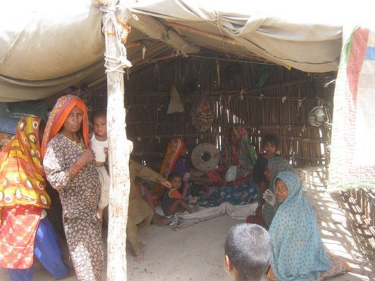 Flood victims living in tent