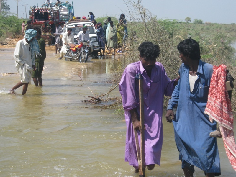 Raod under flood water