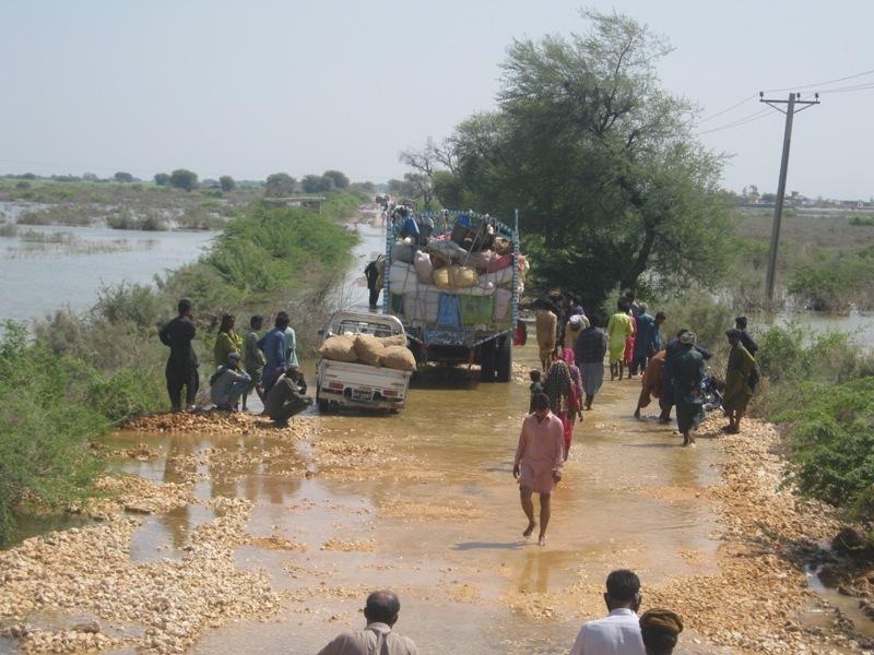 Road still under flood water