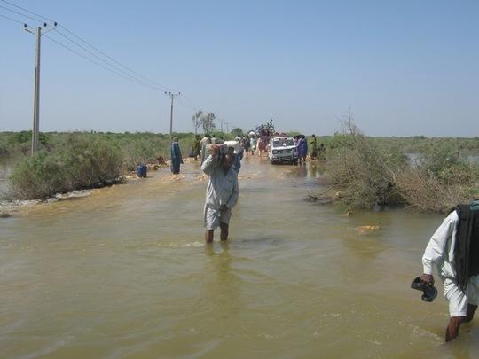 main road under flood water