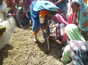 women growing vegetable at household level