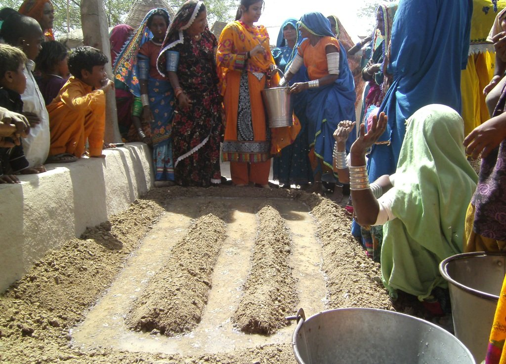 women sowing vegetable seeds