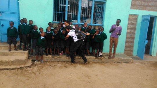 Boys celebrating test scores