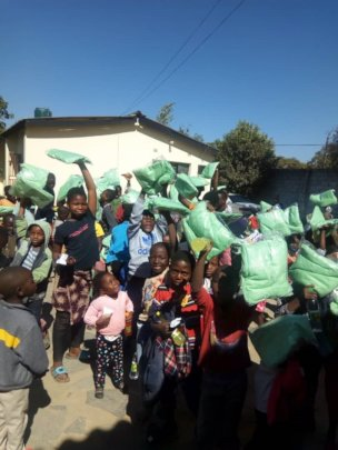 Children and families with new nets