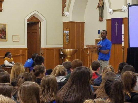 Hosea speaks to teenagers in Massachusetts