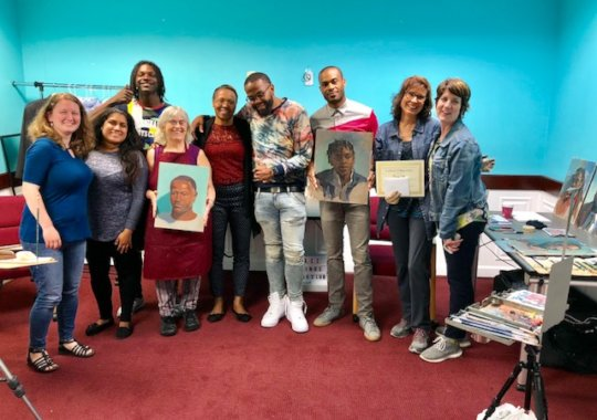FM team pictured with artists Donna and Cindy