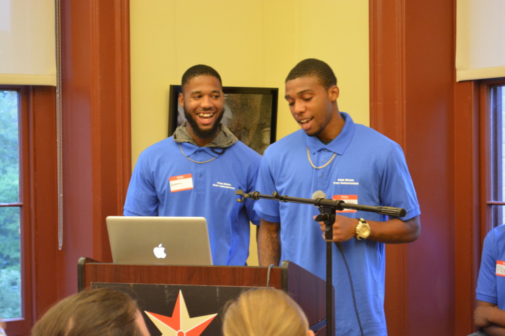 Delonta and Damion reading poetry at Write Night