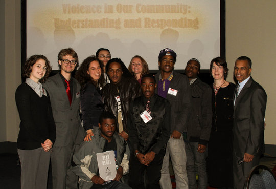 Presenting at a conference on youth violence.