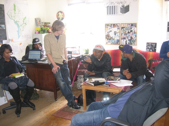 During a reentry workshop on filmmaking.