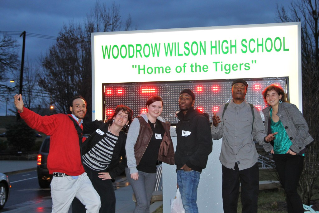 The Free Minds outreach team outside Wilson High
