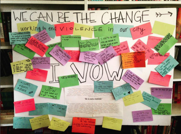 "The ""I Vow"" board displaying vows for change"