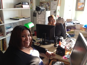 Our new intern Heather with program manager Keela