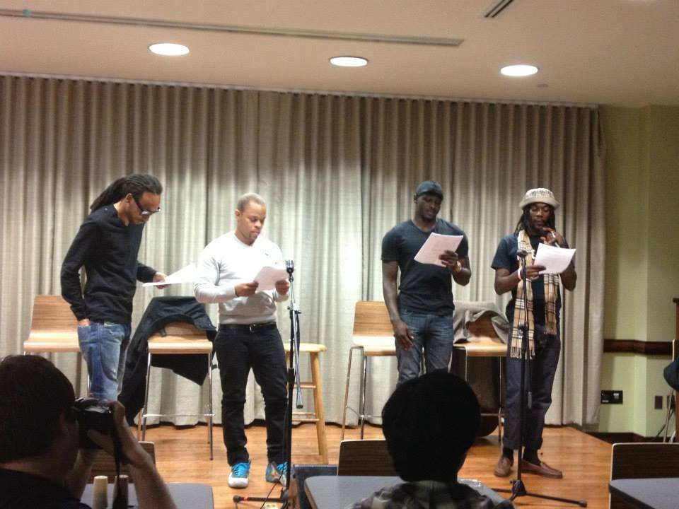 Performing a group poem at Marymount University