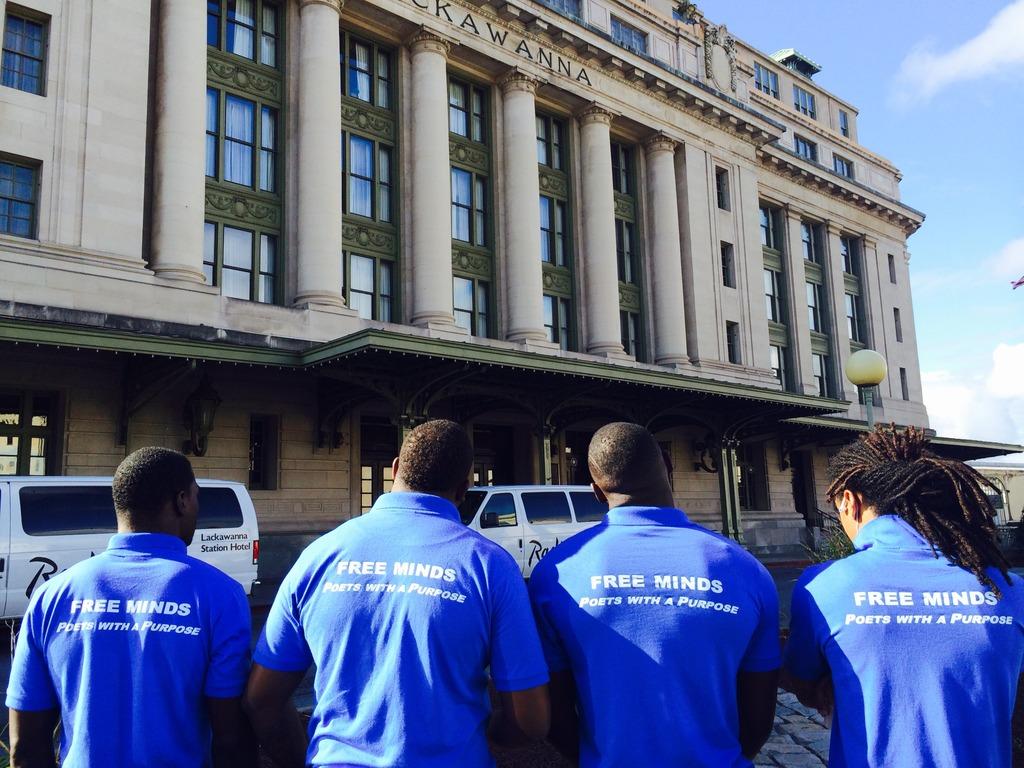 Poet Ambassadors outside Scranton University