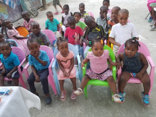Some of the kids waiting for their Easter dinner