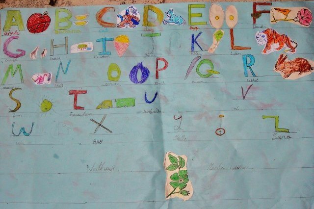 The kids use drawing to personalise the alphabet