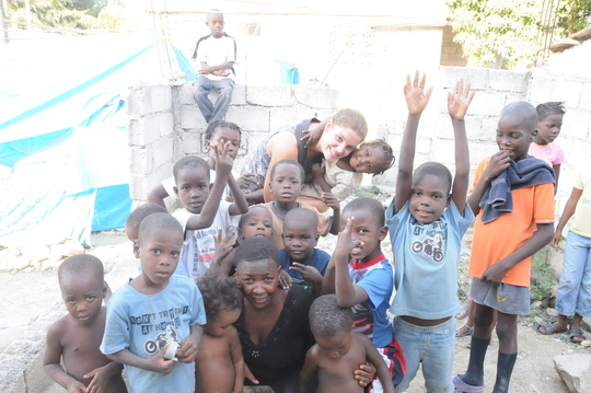 A group of the kids at the orphanage