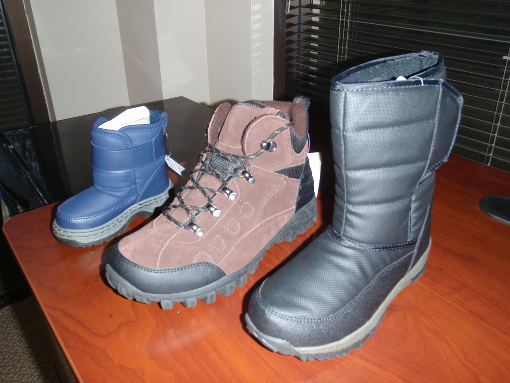 The three styles of boots we have ordered.