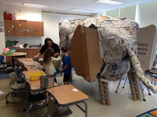 Paper Mache Elephant in 2nd grade class (2)