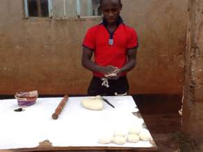 Making chapatis -- yum!