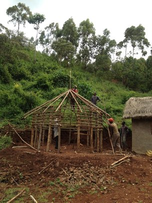 A hut under construction