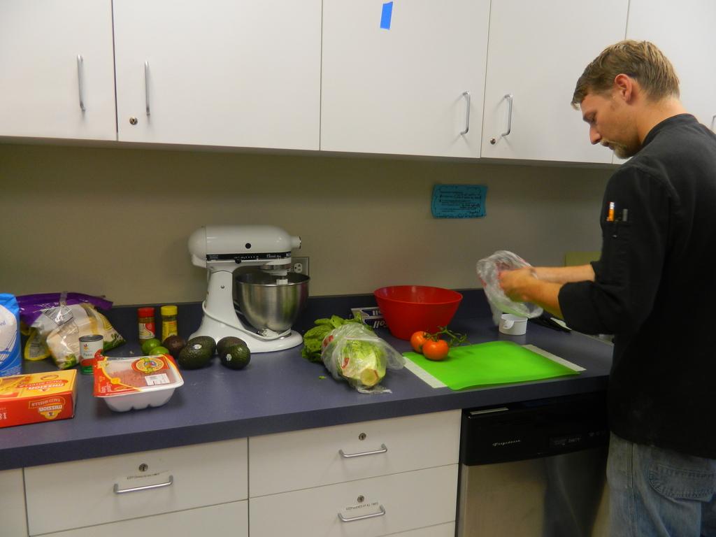 Adam Rast preparing the ingredients.