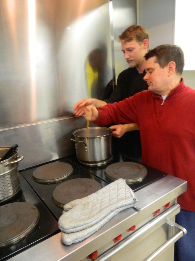 Student stirring the pot.