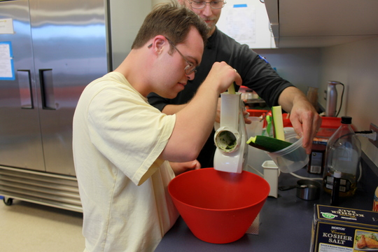 grating the zucchini