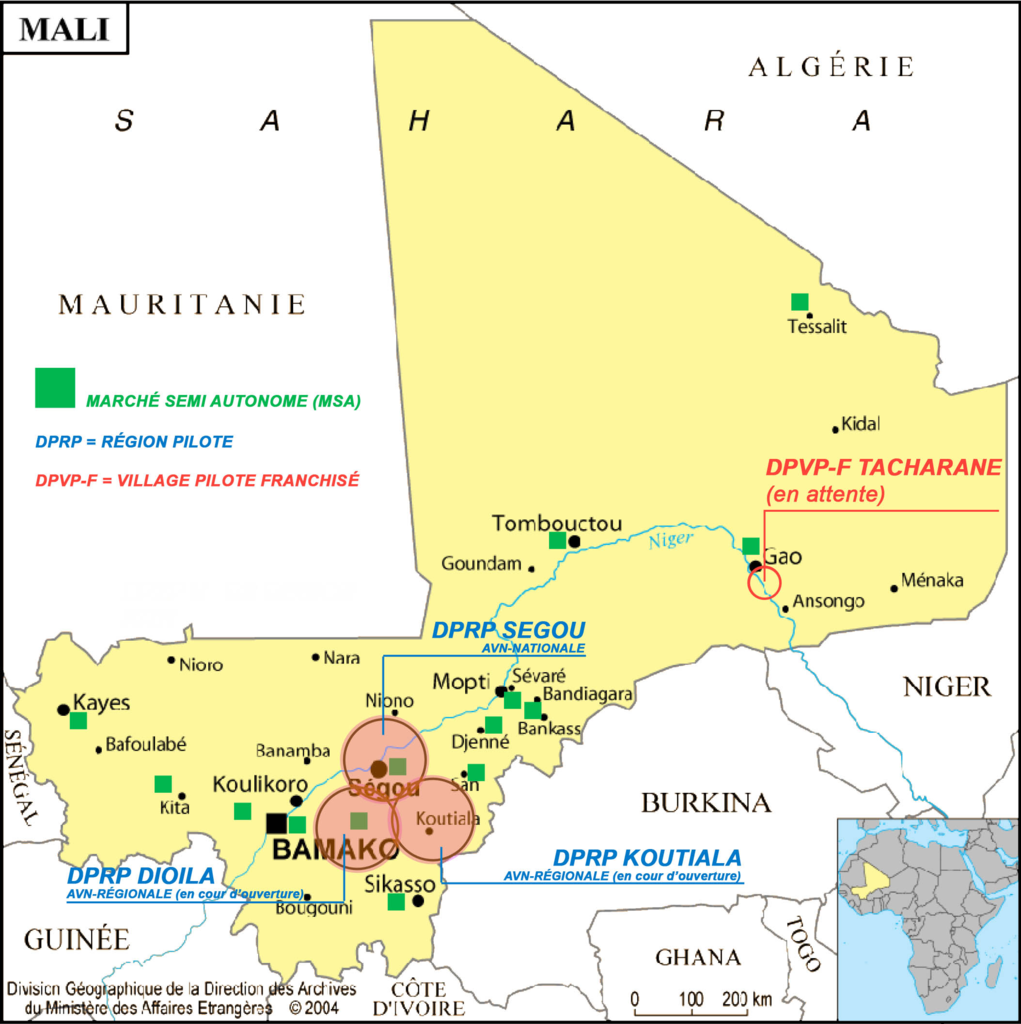 Map showing new regional centers