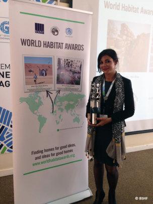 Cecilia Rinaudo with World habitat Award