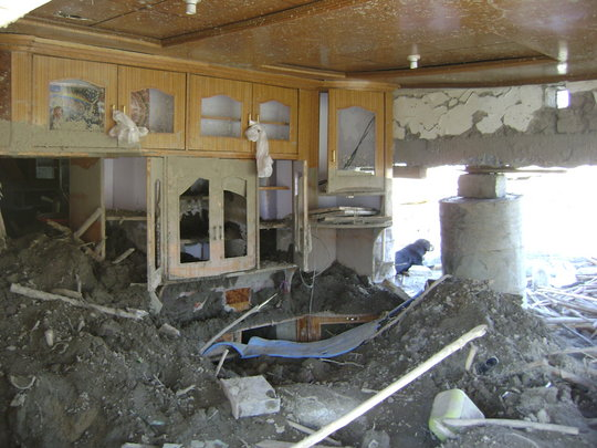 Inside view of a flooded house